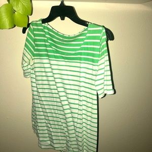 white and green striped blouse with buttons